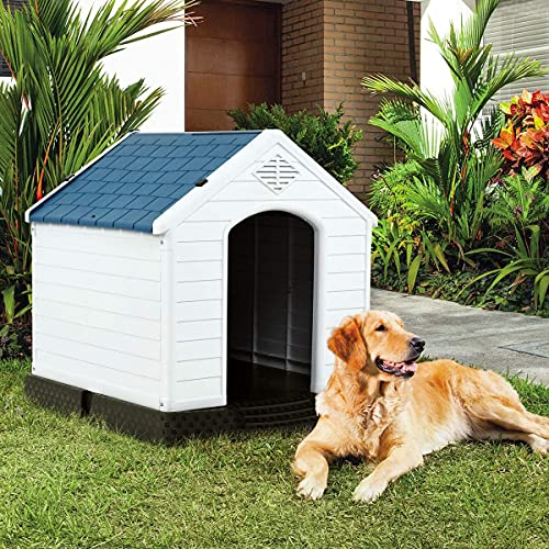 Giantex Plastic Dog House Waterproof Ventilate Pet Kennel with Air Vents and...