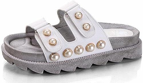 Chaussures d'été des sandales à fond épais et pantoufles dame boucle perle chaussures de mode , blanc , US6   EU36   UK4   CN36