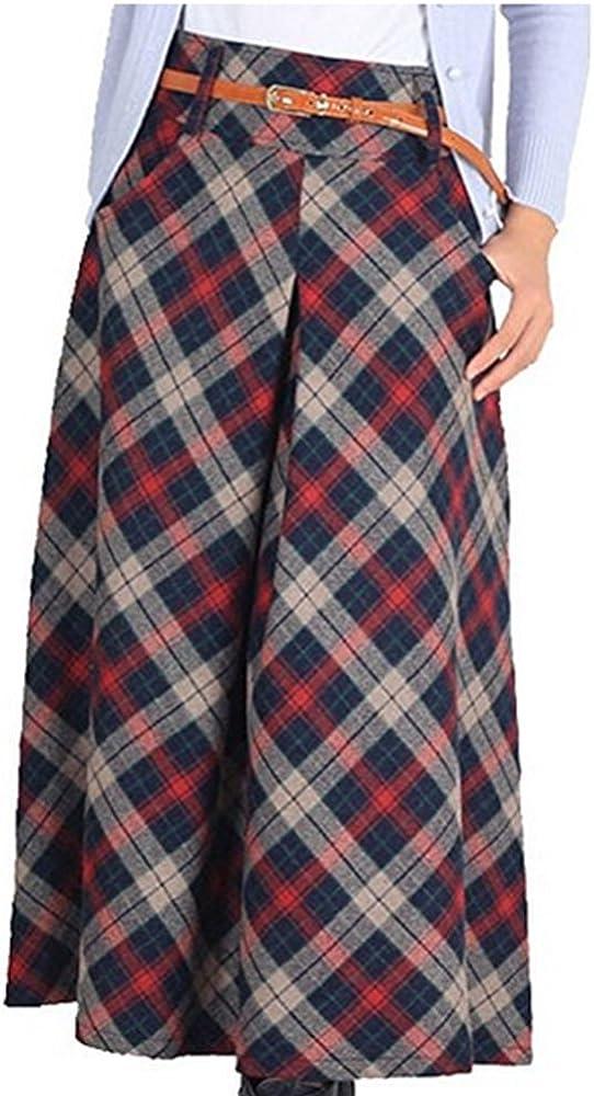 LISASTOR Women Warm Plaid Flare Skirt A Line High Waist Wool Skirt With Pockets