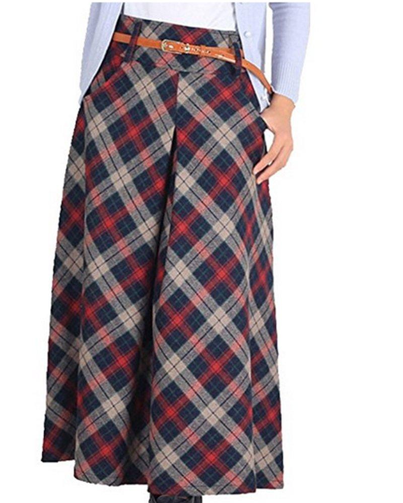 lisastor 女式温暖百褶格子喇叭裙 A 字裙高腰羊毛衬衫带口袋