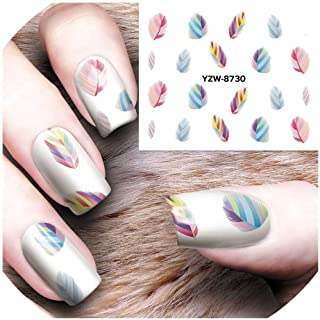 1 Sheet Nail Decorations Art Tips Feather Water Transfers Nail Sticker for Ladies Feather Decals nail art tools,White