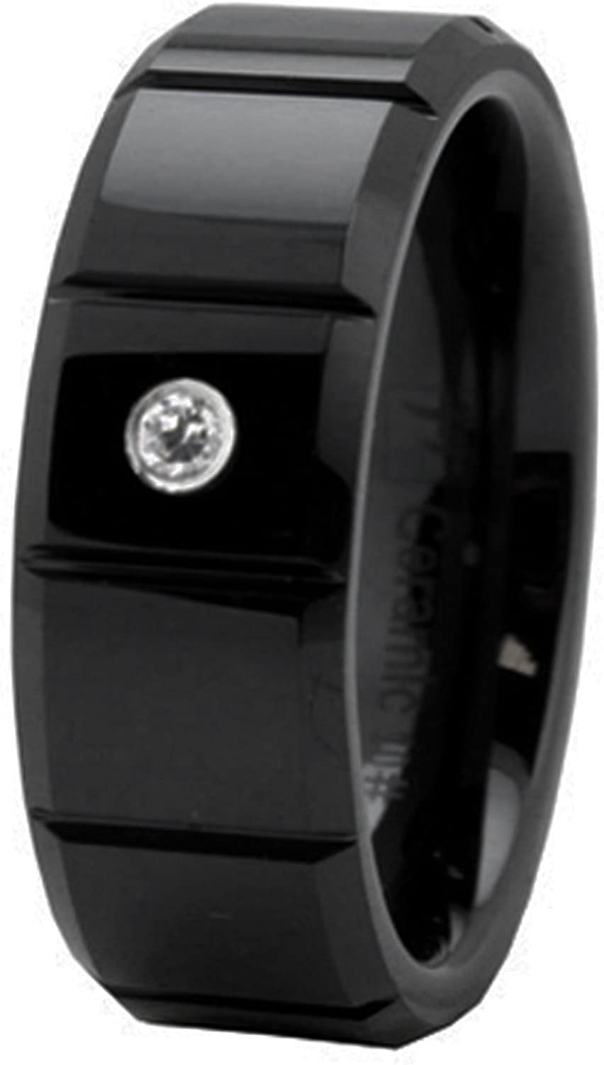 Payless Outlet 8 MM Black Ceramic Beveled Edge Groove CZ Wedding Band Ring