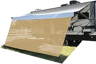 Tentproinc RV Awning Sun Shade Screen 8' X 16'3'' - Beige Mesh Sunshade UV Blocker Complete Kits Motorhome Camping Trailer Canopy Shelter - 3 Years Limited Warranty