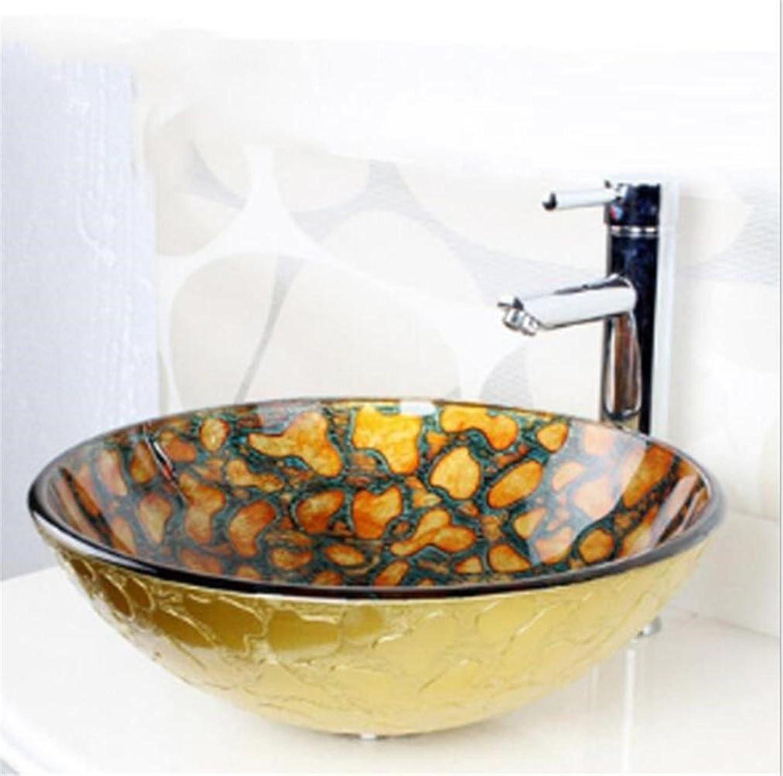 FFJTS Gehrtetes Waschbecken aus Glas Kunst Badezimmer Basin Sink (Single Basin)