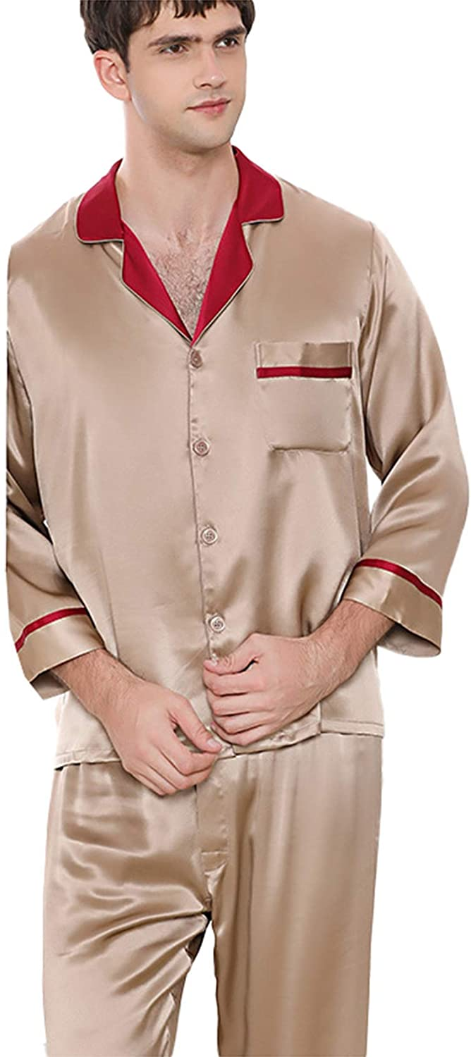 FMOGG Men's Sleepwear Set Long Sleeve Button Down Tops and Pants Classic 100% Mulberry Silk Heavy Silk Pajamas Nightgown Two-Piece Homewear Set
