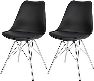 eSituro SDC51 Pack de 2 Sillas de Comedor Silla de Oficina con Reposabrazos Silla Tower Cuero Artificial Asiento Tapizada Diseño Nórdico Patas Metal Negro