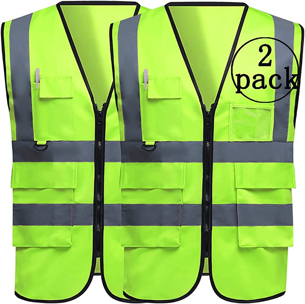 Topics on TV 2 Pack Safety Reflective Vest Visibility Security Construct High Max 89% OFF