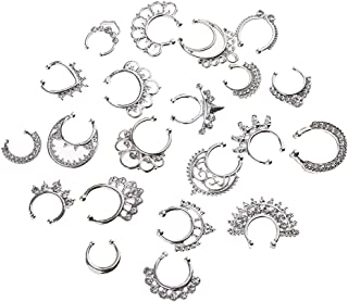 HOMYL 21 Pieces Crystal Fake Septum Clicker Nose Ring Non-piercing Assorted Shape Illusion Piercing Nose Ring Loop