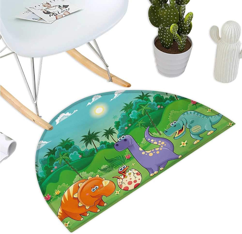 Nursery Semicircular Cushion Funny Dinosaurs and Tropical Rainforest Cartoon Jungle Green Landscape Kids Theme Halfmoon doormats H 35.4  xD 53.1  Multicolor