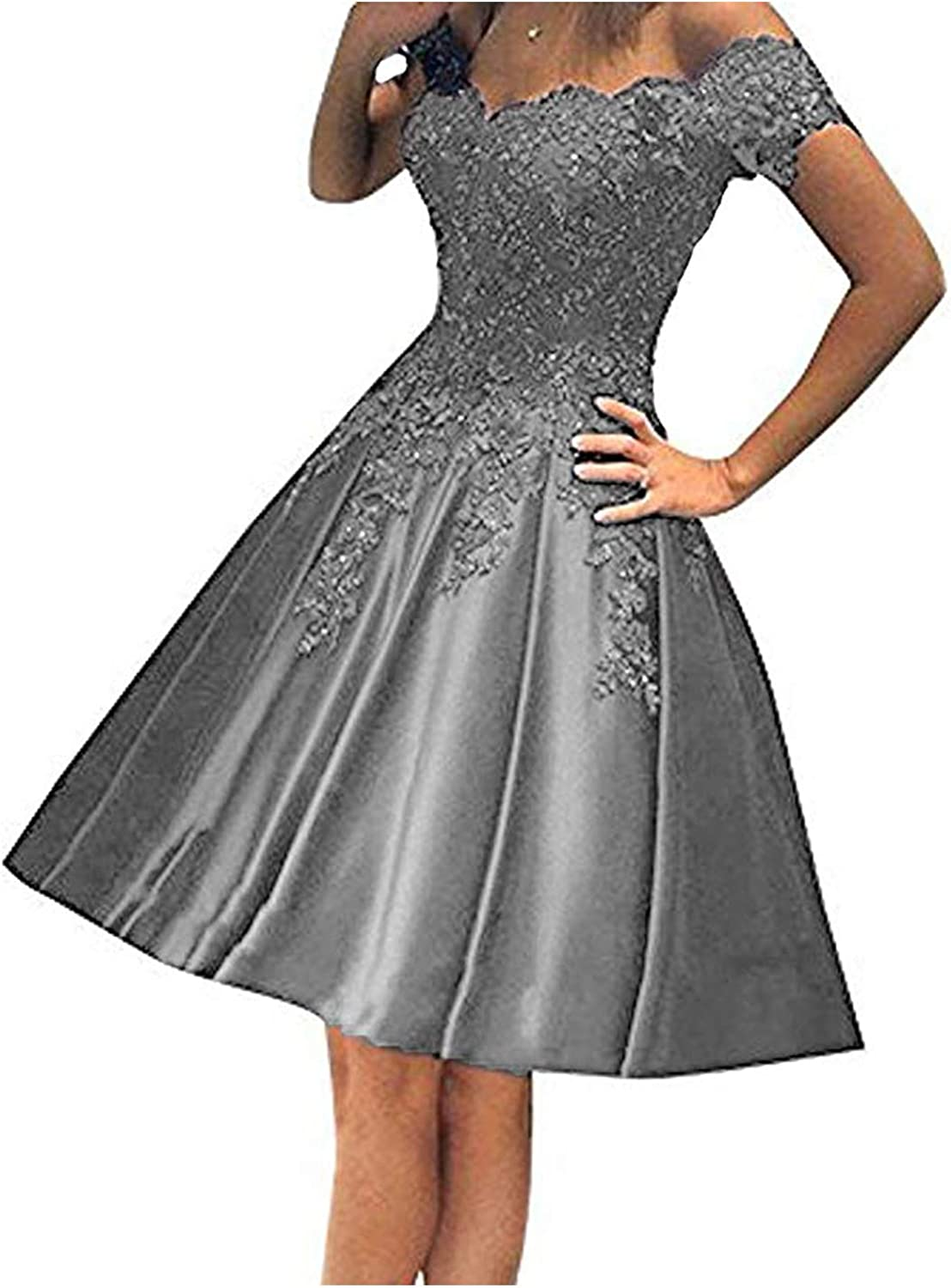 CIRCLEWLD Off The Shoulder Short Homecoming Dresses Beaded Appliqued Satin Prom Gown Women H73