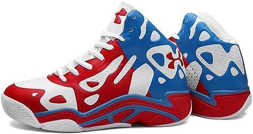 Basketball Chaussures Homme en Cuir Synthétique 3D Mode Soulagement De Sport Résistant à l'usure Non Slip baskets,rougeblanc,41
