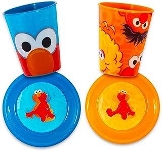 Sesame Street Dinnerware Set Toddler Baby (4 Piece Dining Set -- 2 Cups, 2 Bowls) (Assort 1)