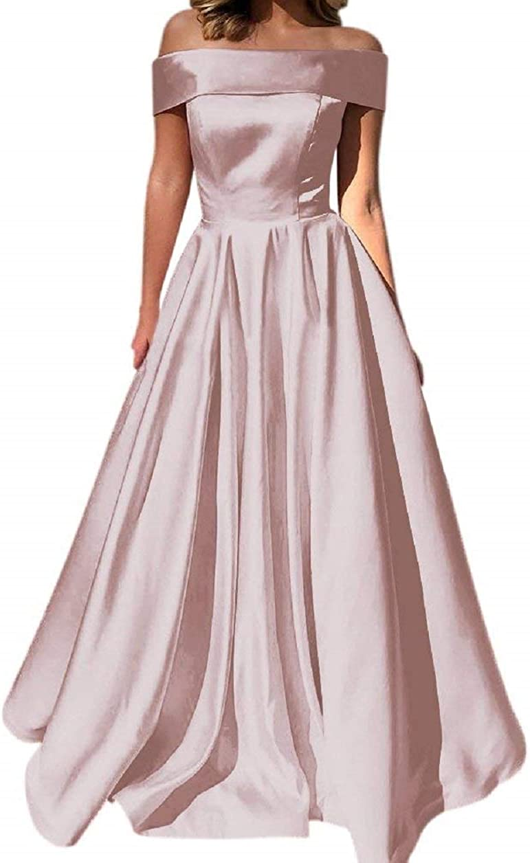 Prom Dresses Off The Shoulder Evening Dresses Satin Beaded Party Dress A-Line Long with Pocket Formal Gown Fuchsia