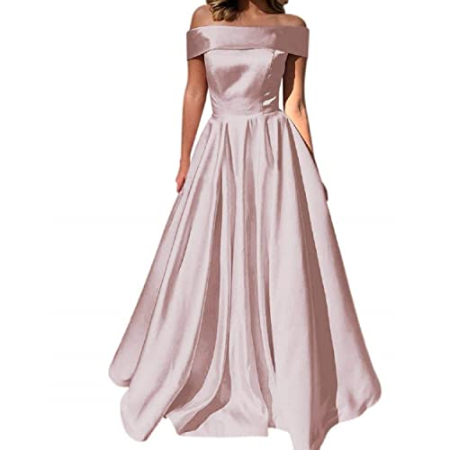 5609627688 Prom Dresses off the Shoulder Evening Dresses Satin Party Dress A-Line Long  with Pocket