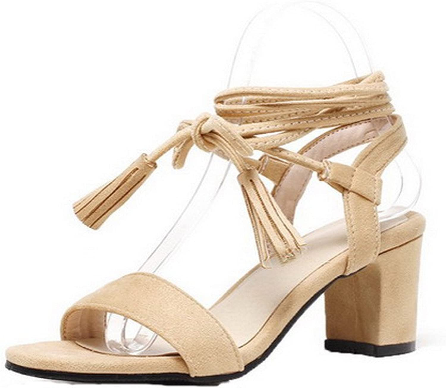 AllhqFashion Women's Lace-up Kitten-Heels Imitated Suede Solid Open-Toe Sandals