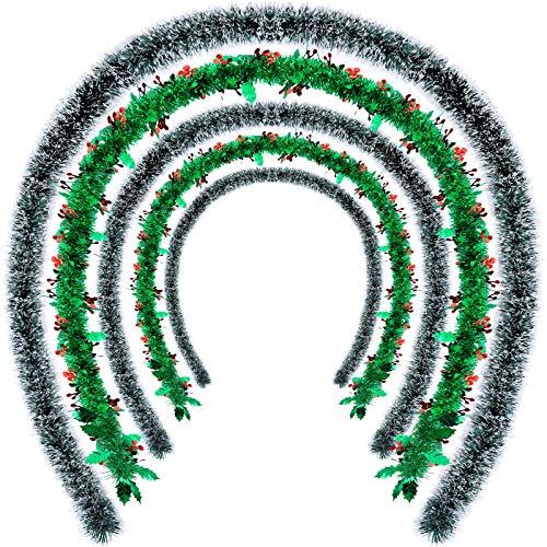 WILLBOND 5 Stück Weihnachtsbaum Lametta girlanden für Weihnachten Weihnachtsbaum Weihnachtsdeko Dekoration 2 Stück Stechpalme Beeren Lametta Girlande 3 Stück Weihnachten Metallisch Folien 6,6 ft