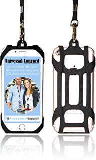 AccessoryHappy Universal Premium Quality 2 in 1 Lanyard & Card Holder, Cell Phone Tether Neck Strap Silicone Smartphone Case for iPhone 5 6 6S 7 8 8 Plus Galaxy S8 S9 Note 8 9 and Most Smartphones