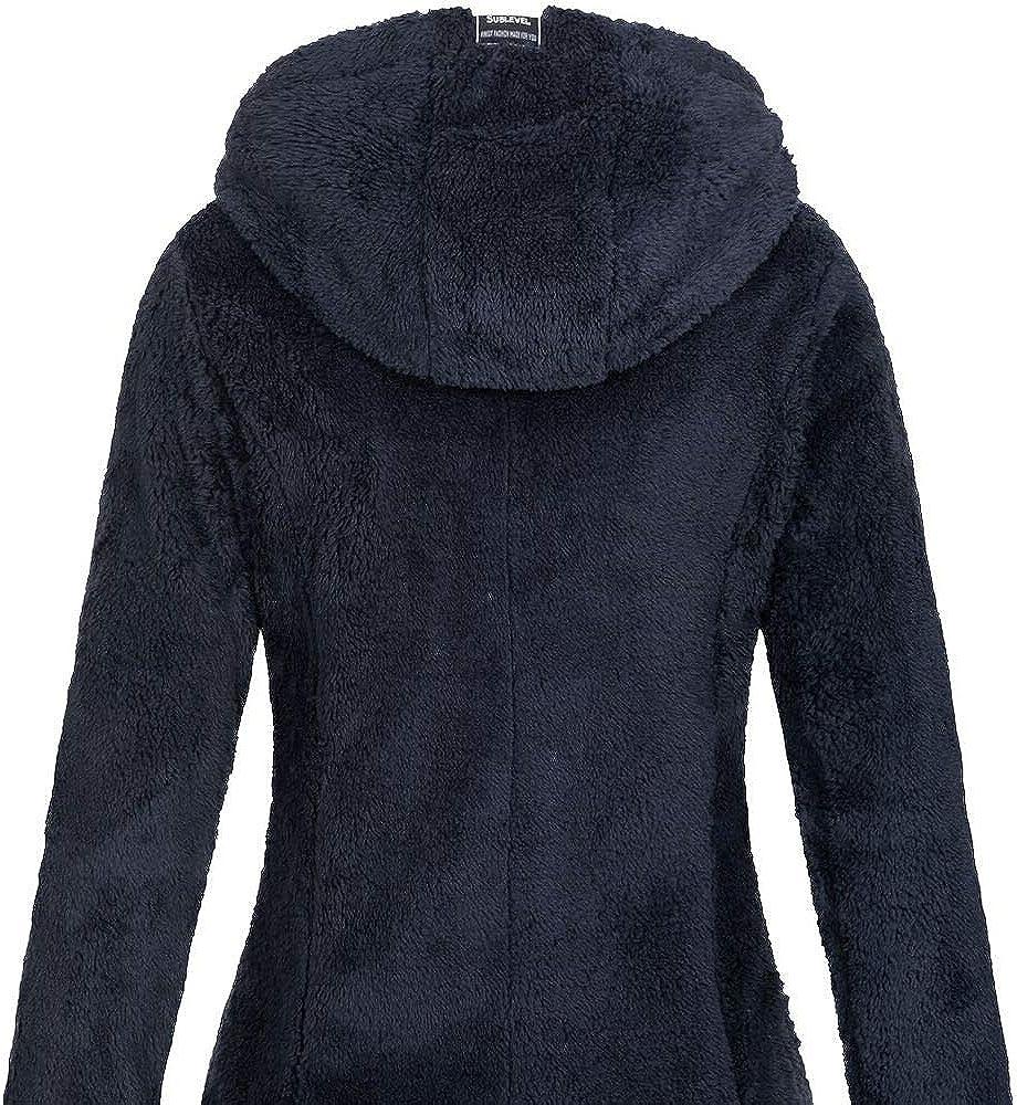 Sublevel Damen Teddyfleece-Jacke Mantel LSL-357 mit Kapuze Indigo Blue