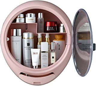 YLISAE NRAE Cosmetic Organizer for Bathroom,No Drilling Wall Mount Makeup Organizer,Dustproof & Waterproof Cosmetics Display Cases,Makeup Storage Box,(Oval, Pink)