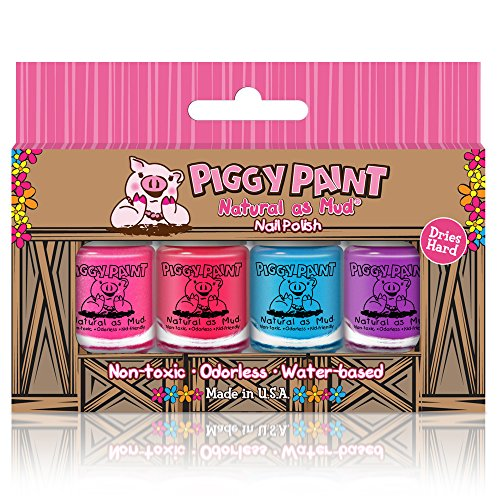 Piggy Paint 100% Non-Toxic Girls Nail Polish, Safe, Chemical Free, Low Odor for Kids - 4 Bottle Gift...