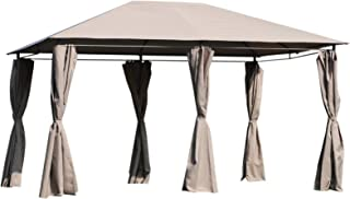 Outsunny 10' x 13' Outdoor Patio Gazebo Canopy with 6 Removeable Sidewalls, Weather-Resistant Roof, & Steel Frame Khaki