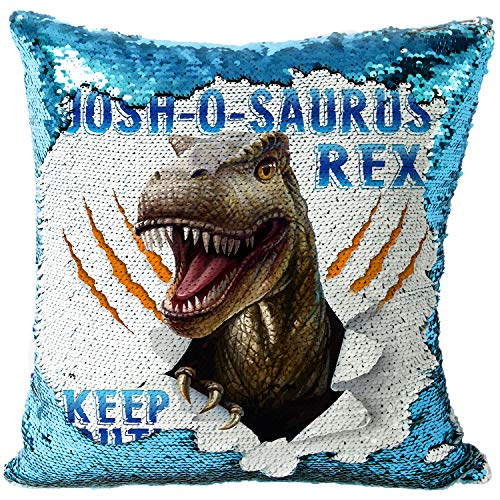 KRAFTYGIFTS Personalised DINOSAUR Magic Reveal Cover Sequin Cushion T REX Case BLUE MC10