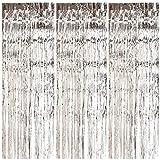 iGadgitz Home U7139 Metallic Tinsel Curtains (Set of 3), Foil Curtain, Tinsel Backdrop, Foil Fringe Curtain -Silver