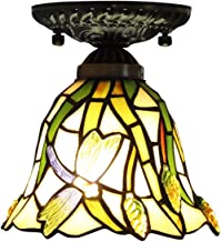 Tiffany Style Ceiling Light,Stained Glass Shade Flush Mount Ceiling Lamp,European Vintage Ceiling Lighting Fixtures for Li...
