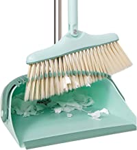 Dustpan and Soft Brush Set 85CM Upright Swivel Long Handle Broom and Windproof Dustpans Combo for Indoor Kitchen Hallway O...