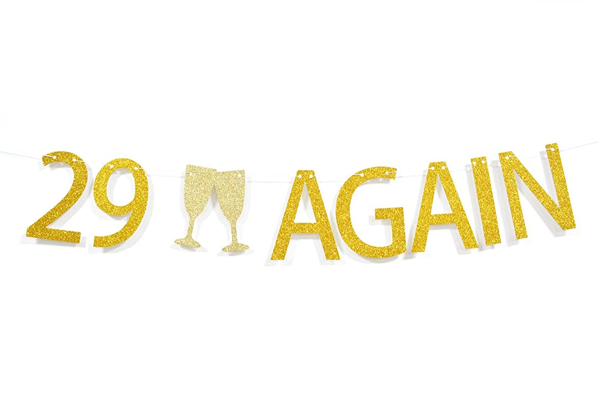 Qttier? 29 Again Gold Glitter Letters Banner Dirty 30 Themed 30th Birthday Anniversary Party Decorations