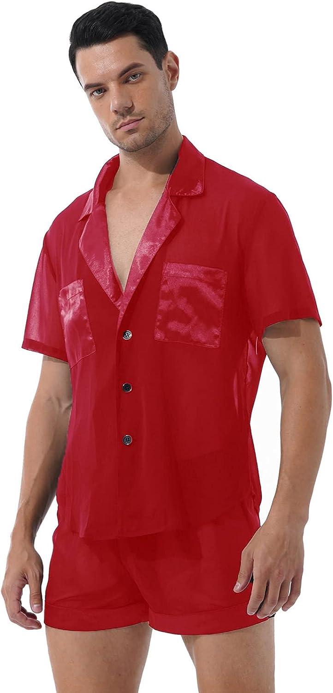 dPois Mens Sissy Chiffon Lingerie Short Sleeve Pjs Sleepwear with Short Panties Sets