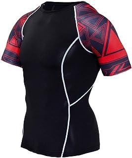 Black Compression Gym Shirt Mens Short Sleeve Dri Fit Yoga Shirt