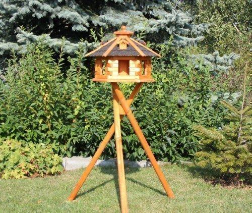 Vogelhaus mit Ständer und Solarbeleuchtung Typ 4-5 (Schwarz, groß)