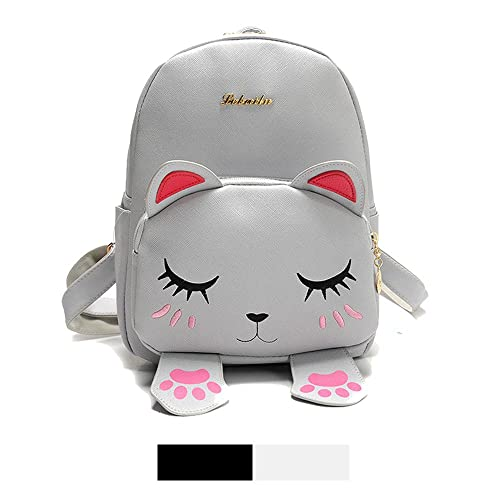 Mini Backpack For Girls Cute Cat Design Fashion Leather Bag Women Casual  Fashion(Grey) e792781fda