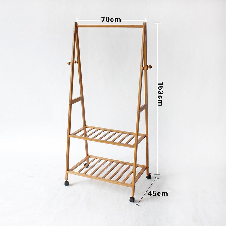 Qfgis Coat Racks Landing Hanger Bedroom Solid Wood Bamboo Simple Mobile Storage Rack Furniture (color    1, Size   70CM)