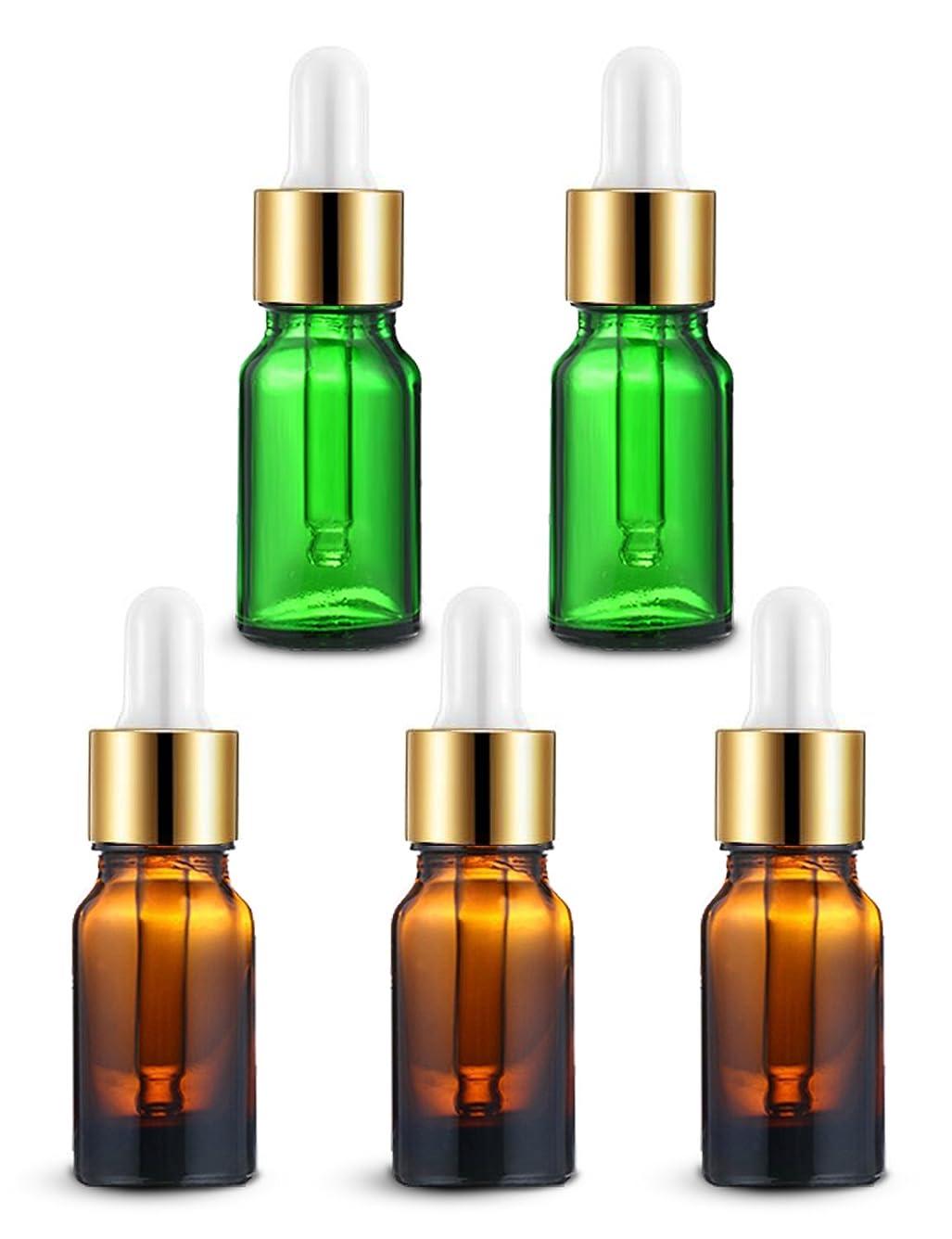不一致更新症候群ENERG アロマディフューザー(全機種適応) ネブライザー式 スポイト付き精油瓶 緑2個?ブラウン3個 アロマ瓶 10ml 5個セット