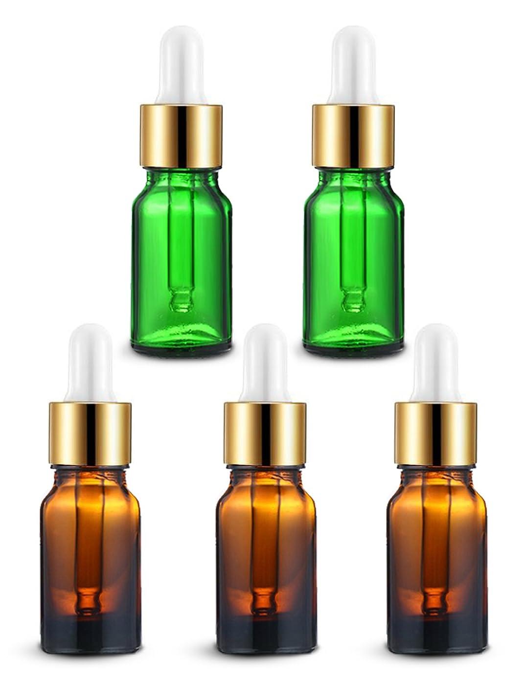 食器棚に応じてはがきENERG アロマディフューザー(全機種適応) ネブライザー式 スポイト付き精油瓶 緑2個?ブラウン3個 アロマ瓶 10ml 5個セット