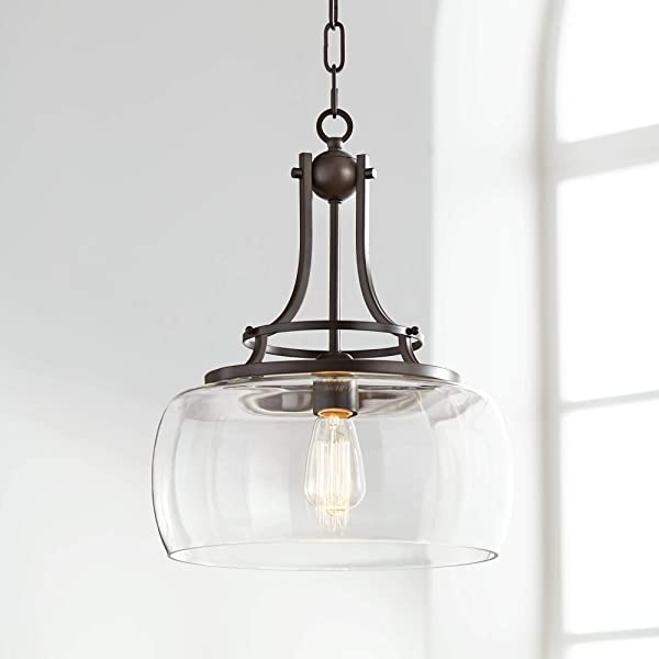 Charleston 13 1 2 Wide Clear Glass And Bronze Pendant Light Franklin Iron Works