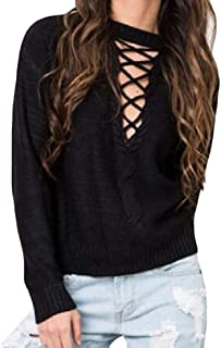 Womens Pullover Round Neck Long Sleeve Front Hollow Out Lace Up Warm Knitted Jumper Sweater
