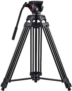 miliboo MTT601Aヘビーデューティーアルミニウム流体ヘッドカメラ三脚60インチビデオカメラ/ DSLR用の最大高さ安定性の向上のための中型スプレッダー設計のモノポッドビデオ三脚スタンド