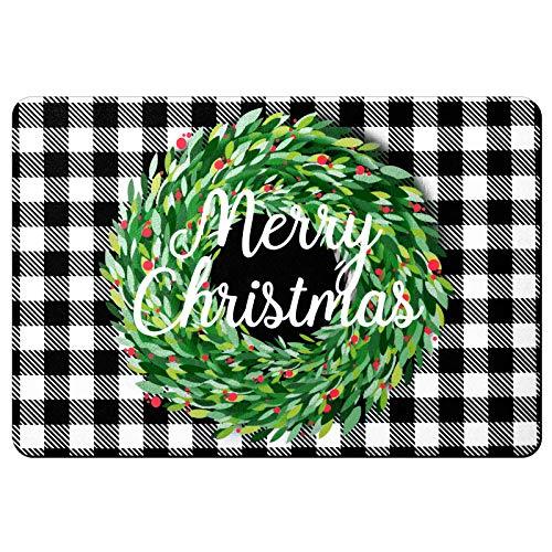 Merry Christmas Buffalo Plaid Rug, 15.7 x 23.6 Inch Christmas Decoration Door Floor Mat, Buffalo Check Plaid Wreath Decorative Doormat, Non Slip Indoor Outdoor Buffalo Check Rug (Black and White)