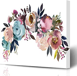 Ahawoso Canvas Prints Wall Art Printing 8x8 Navy Flowers Dusk Blue Pale Pink Gray White Bunch Nature Peach Anemone Arrangement Baby Berries Painting Artwork Home Living Room Office Bedroom Dorm