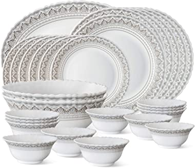 Larah by Borosil Classic Opalware Dinner Set, 27-Pieces, White