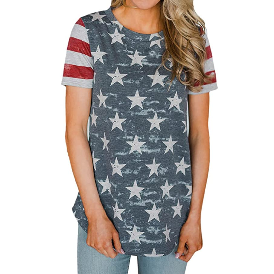 Willow S Fashion Womens Camouflage American Flag Splice Print Sexy Short Sleeve O-Neck Tops Blouse T-Shirt Tee