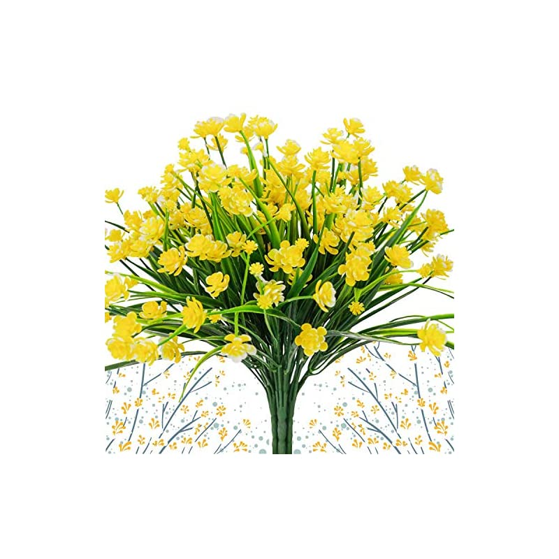 silk flower arrangements artificial daffodils flowers,fake plant outdoor faux yellow flora greenery bushes fence indoor outside decor