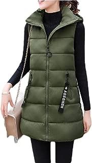Women Solid Coat Sleeveless Hooded Zipper Vest Down Jacket Outwear Down Tank Top