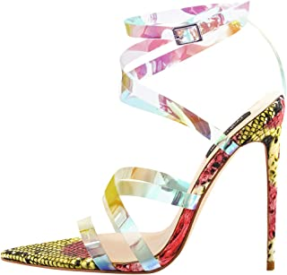 Onlymaker Womens Iridescent Clear Criss Cross Snake Pointed Open Toe Sandals High Heel Fashion Summer Party Shoes