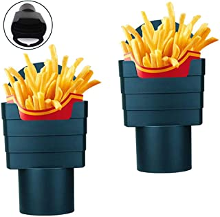 ALLRI 2 Pieces French Fry Cup Holders, Cup Fry Holder Black Drink Beverage Fast Food Holders Universal French Fry Holder P...