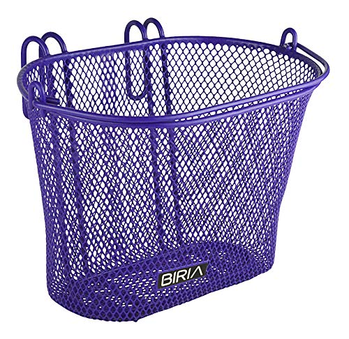 "Front Junior Bike Basket Woven 10/"" Plastic with Flower /& straps . Metal Braced"
