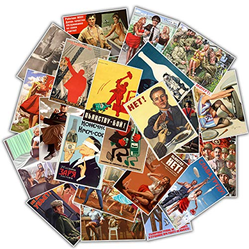 N/R 25Pcs Mixed Stalin USSR CCCP Poster Stickers for DIY Laptop Luggage Refrigerator Door Decor Waterproof Toy Sticker,E118(25Pcs)